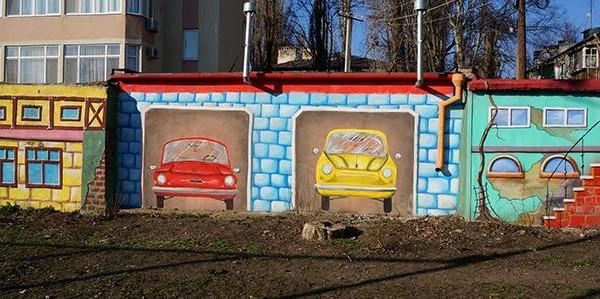 Художественная роспись фасадов гаражей в Одессе, 2012 | Aрт-студия «Peach»