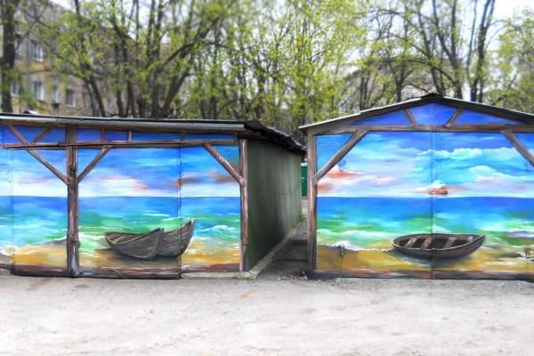 Художественная роспись и оформление стен гаражей в Одессе, 2012 | Aрт-студия «Peach»