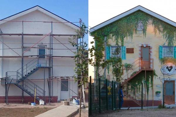 Роспись фасада гостинично – дрессировочного клуба «Лайка» | Aрт-студия «Peach»
