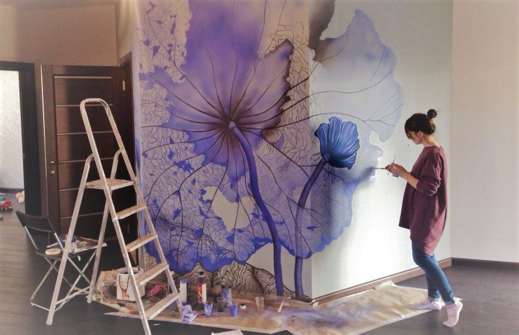 Роспись на стене в прихожей | Арт-студия «Peach»