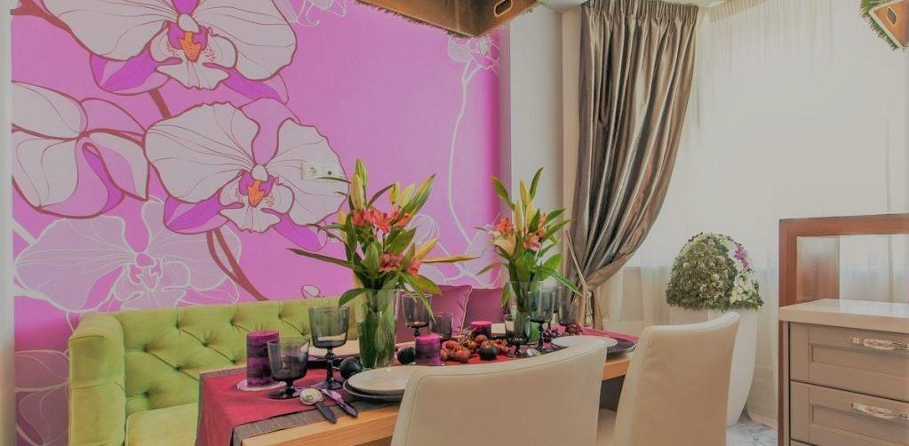 Рисунок на стене на кухне | Арт-студия «Peach»
