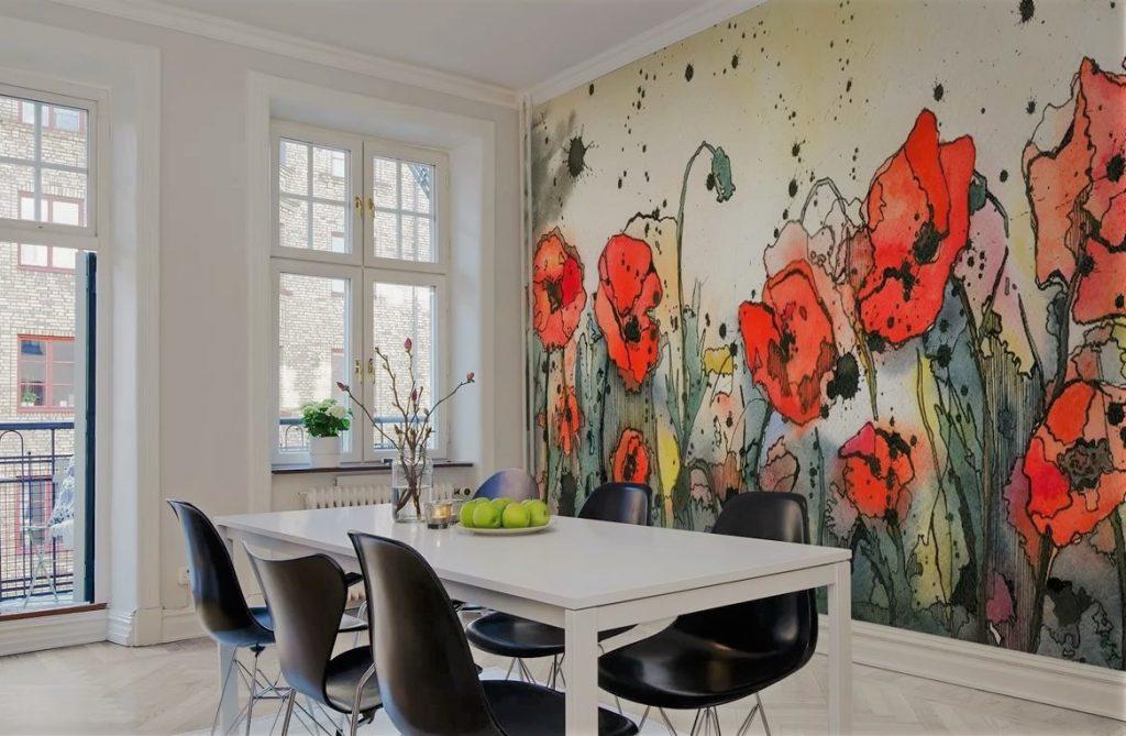 Цветы на стене на кухне | Арт-студия «Peach»